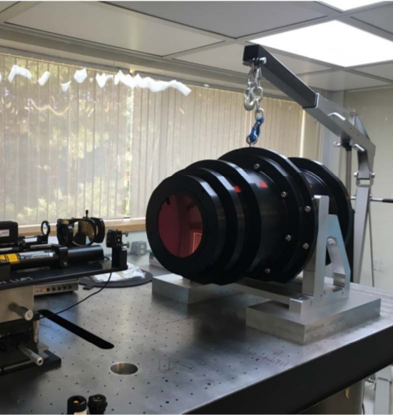 The spectrograph camera is fully assembled, and undergoing a test called laser unequal path interferometry (LUPI for short).