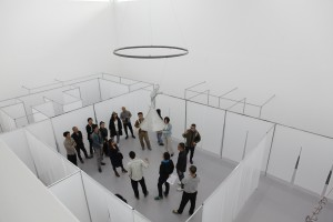 The room holding the exhibition was designed as a maze.